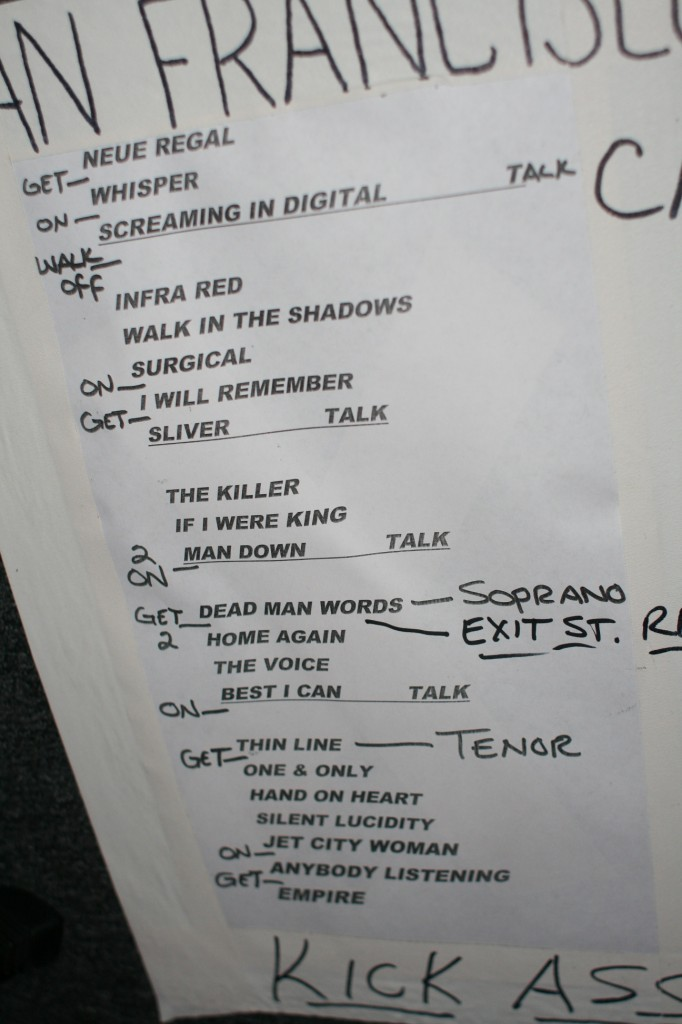 The band's own setlist for their show at The Fillmore
