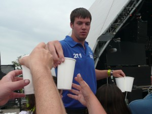 At Glastonbury, the security spends much of their time handing out water to the people up front.  No $3.50 Dasani here!