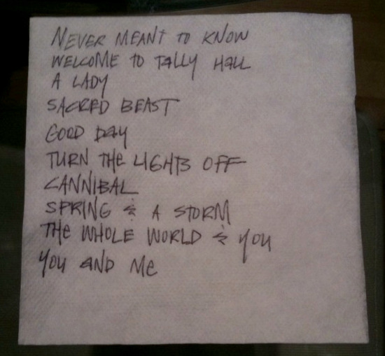Thanks to Joe from Tally Hall for scratching out the band's set list on a bar napkin.