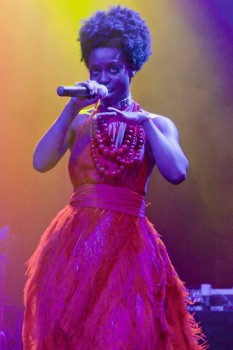 Crowds of people wait for her: Skye Edwards of Morcheeba