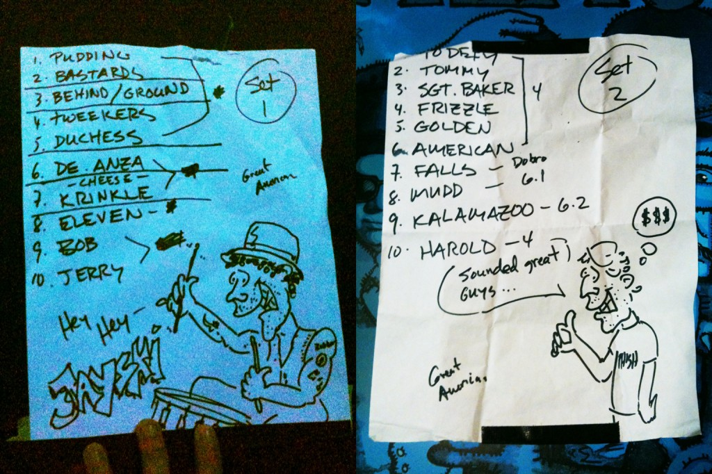 Primus' setlists, with art by Les Claypool