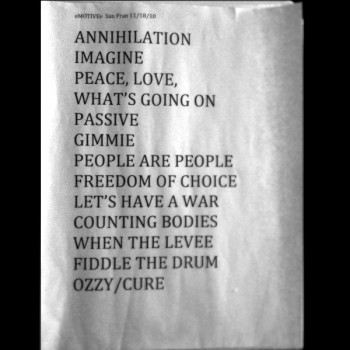 The eMOTIVe setlist