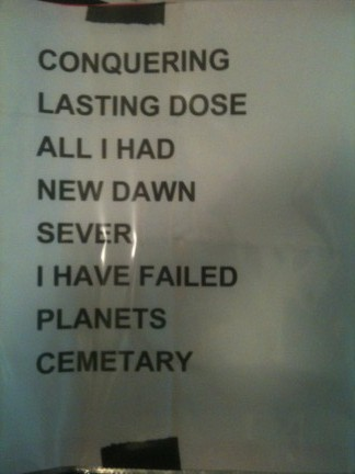 Crowbar's setlist, one of only two bands that had setlists on paper