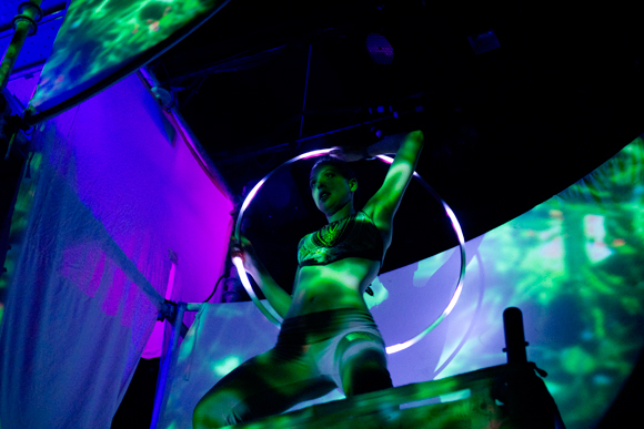 A hula light dancer, accompanying the wild laser show