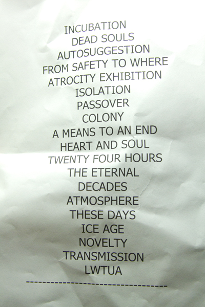Peter Hook and the Light's setlist