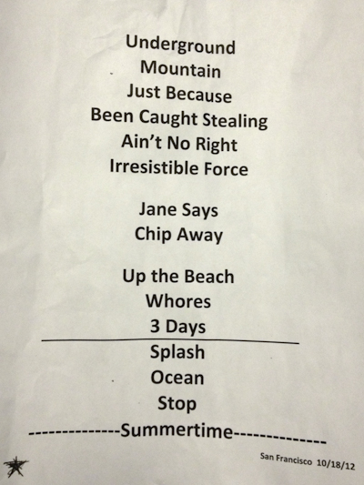 The setlist for Jane's Addiction