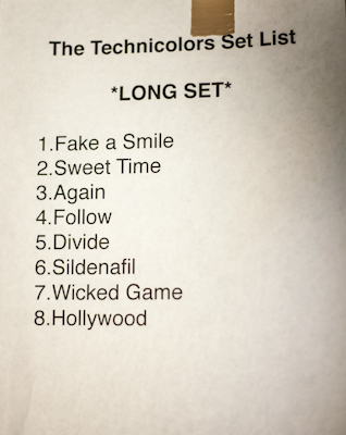 The Technicolors' setlist
