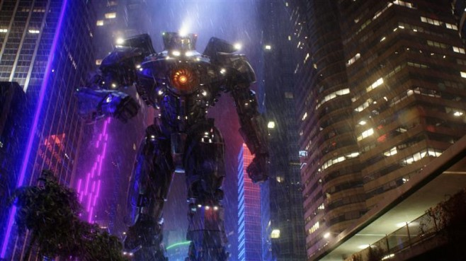 A jaeger strolls through Hong Kong streets in Pacific Rim