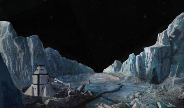 Europa's icy landscape awaits exploration by the Europa One crew.