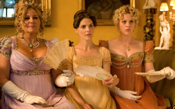 Jennifer Coolidge, Keri Russell, and Georgia King are living the Jane Austen dream in Austenland.
