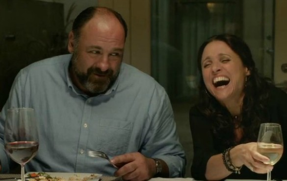 James Gandolfini and Julia Louis-Dreyfus share a laugh in Enough Said.