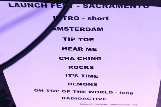 The Dragons' set list, which had to be altered for a city curfew.