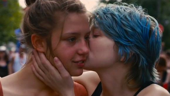 Adele (Adele Exarchopoulos) and  Emma (Lea Seydoux) begin their new relationship with a kiss in Blue is the Warmest Color.