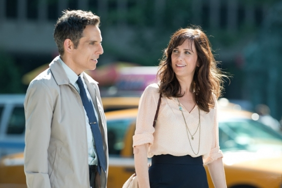 Ben Stiller's Walter works up the nerve to have a conversation with Kristen Wiig's Cheryl in The Secret Life of Walter Mitty.