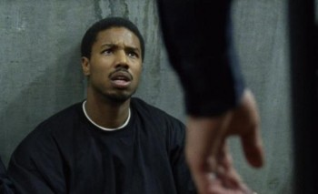 Michael B. Jordan's Oscar is questioned by BART police on the Fruitvale BART platform.
