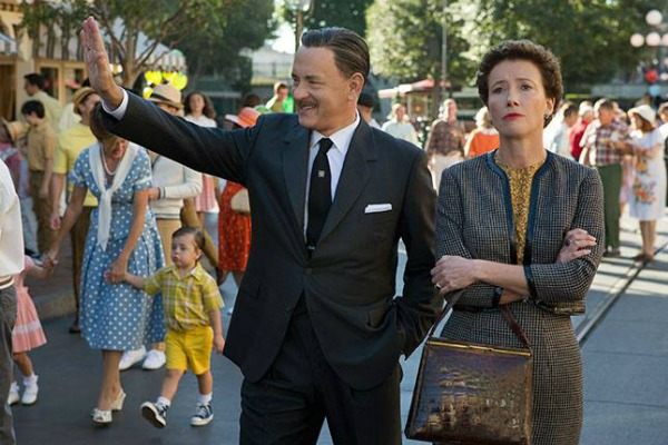 Genial Walt Disney (Tom Hanks) has to deal with the prickly P.T. Travers (Emma Thompson) in Saving Mr. Banks.