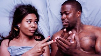 Regina Hall's Joan and Kevin Hart's Bernie use rock-paper-scissors to make a bedroom-related decision.
