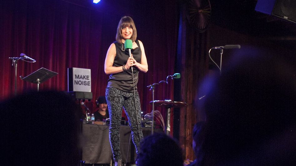 Ophira Eisenberg in action at Ask Me Another's home at The Bell House in Brooklyn.