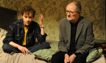 Jim Broadbent's Nick commiserates with his friend Morgan's teenage son Michael (Olly Alexander).