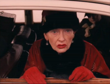 Thanks to the magic of Hollywood make up artists, Tilda Swinton is almost unrecognizable as the 84-year-old Madame D.