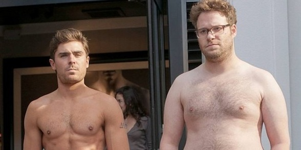 "Zac Efron and Seth Rogen in Neighbors, in a scene chosen by me to get traffic if someone searches for ""shirtless Zac Efron"""