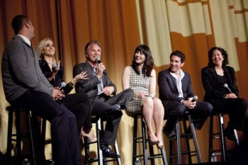 Alex of Venice producer Jamie Patricof, actress and cowriter Katie Nehra, actors Don Johnson and Mary Elizabeth Winstead, director and actor Chris Messina, and SFIFF Director of Programming Rachel Rosen onstage at the Castro on the final night of the 57th International Film Festival.