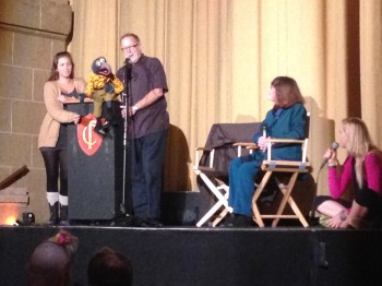 Q & A after The Muppet Movie (Left to right: Amy Goelz, Gonzo, Dave Goelz, Susan Juhl and Janet Varney