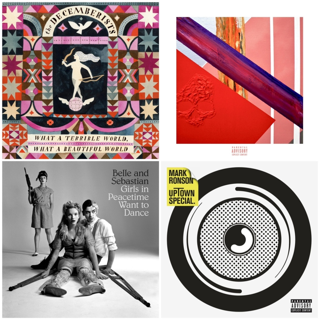 From left: new albums from The Decemberists, Lupe Fiasco, Belle & Sebastian, Mark Ronson