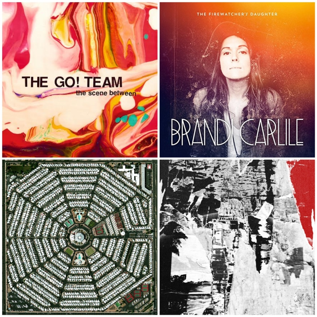 From left: new albums from The Go! Team, Brandi Carlile, Modest Mouse, and  The Soft Moon Decay.