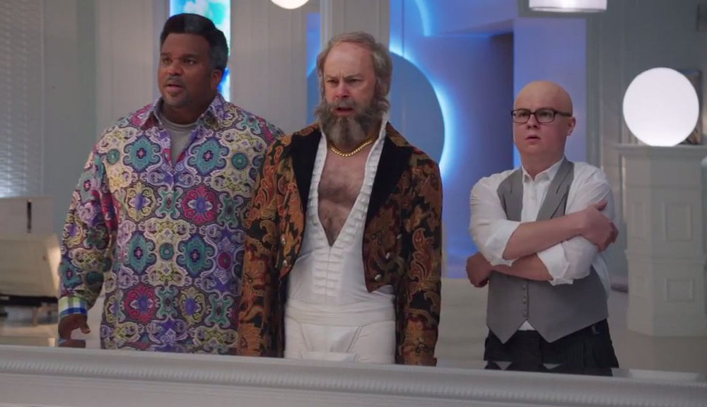Craig Robinson, Rob Corddry and Clark Duke, in the funniest scene in Hot Tub Time Machine 2