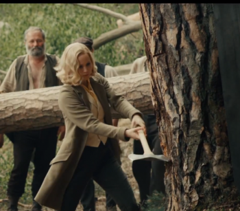 Serena (Jennifer Lawrence) proves she's a bad ass with an ax.