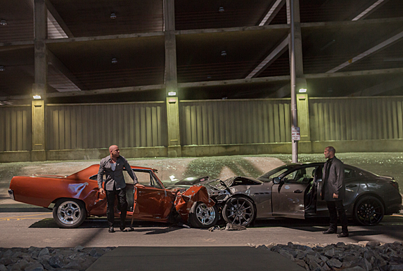 Vin Diesel and Jason Statham crash a lot of cars in Furious 7
