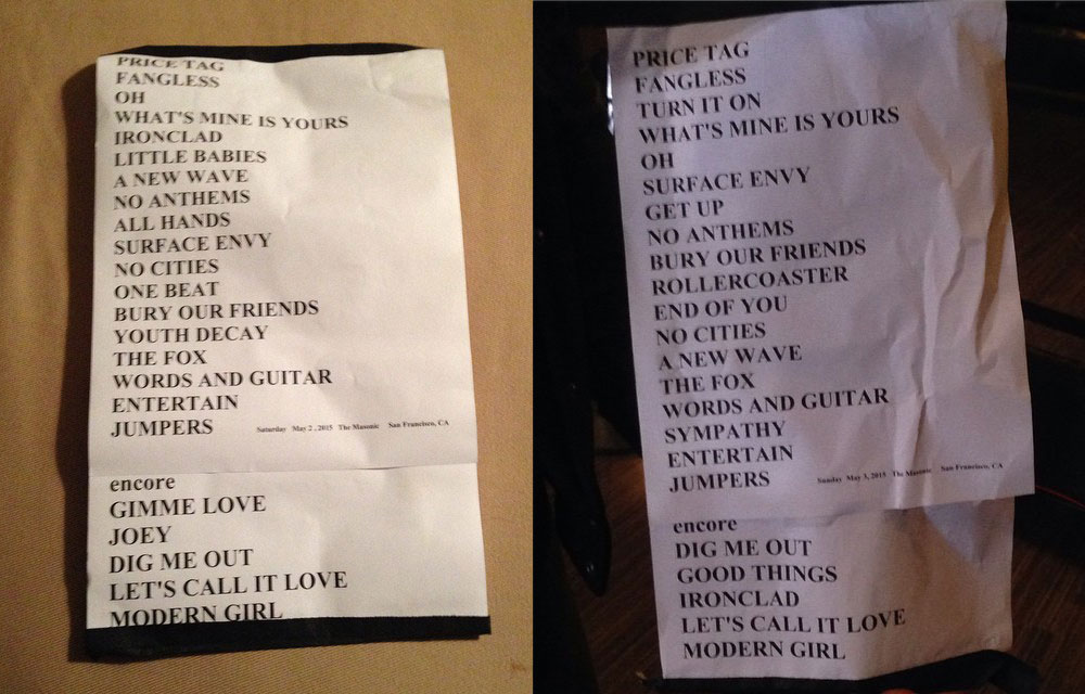 Sleater-Kinney's setlists (for Saturday and Sunday, respectively)