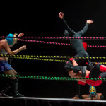 The luchadores and the ref battle it out