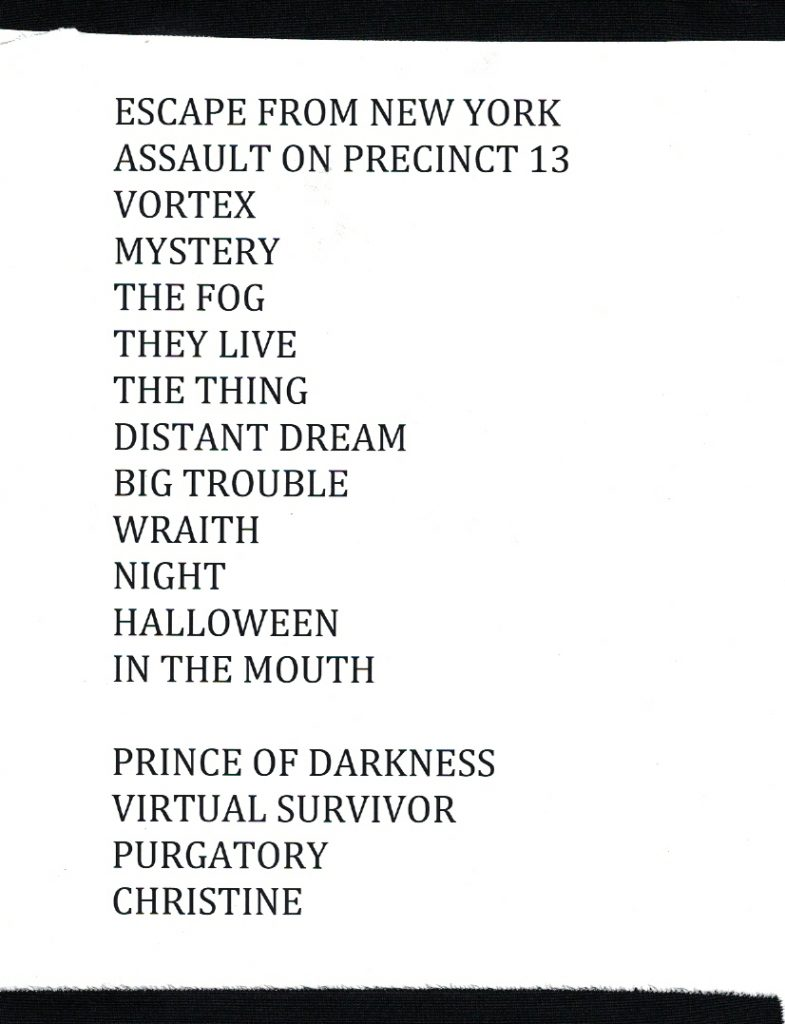 John Carpenter's Live Retrospective setlist