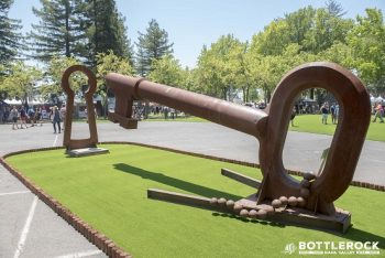 David Tanych's iron lock and key sculpture is a familiar sight to locals who've seen it at Blackbird Winery. (Photo credit: BottleRock Napa Valley / Latitude 38 Entertainment)