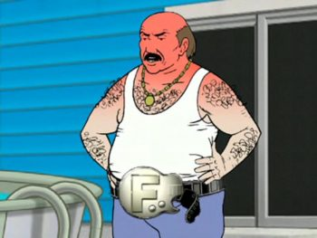 Carl Brutananadilewski of Aqua Teen Hunger Force demonstrating the abilities of The Foreigner Belt. (Got burned a bit by his tanning bed earlier.)