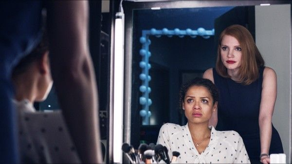 An emotionally fragile Esme (Gugu Mbatha-Raw, l.) is coached by her unflappable mentor and boss Elizabeth Sloane (Jessica Chastain).