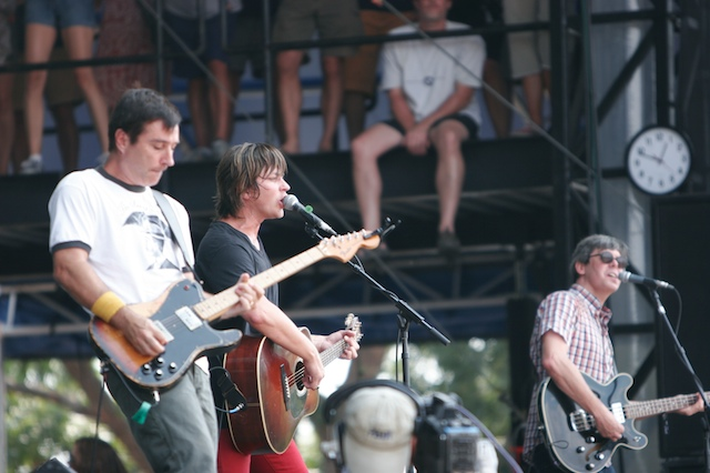 Old 97's: Ken Bethea, Rhett Miller, Murry Hammond. Not pictured: Drummer Philip Peeples. Photo by Mark Couvillion, used under Creative Commons.
