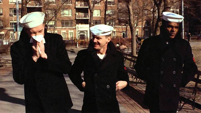 "Larry Meadows (Randy Quaid), Billy ""Badass"" Buddusky (Jack Nicholson), and Richard ""Mule"" Mulhall (Otis Young) take a stroll in ""The Last Detail"""